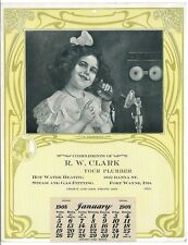 Art Nouveau 1908 Advertising Calendar Telephone Girl January Fort Wayne Indiana