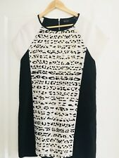 WISH WOMENS DRESS LINED PRINTED STRETCHY BLACK WHITE BEIGE SZ 10