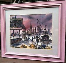 Karl Hasbeck watercolor painting of an Industrial Urban Harbor Scene