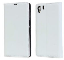 White Genuine Leather Open Book Style Wallet Case Cover For Sony Xperia Z1