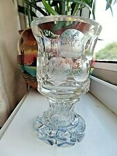 Antique Bohemian Cut and Etched Footed Tumbler Pre 1880