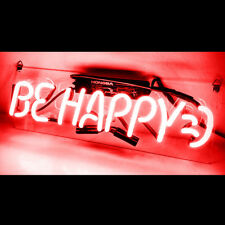 Be happy  Sign Light Store Display Beer Bar Sign Real Neon 14'' x 4'' TN96 RED