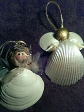 NATURAL SEA SHELL ANGEL ORNAMENTS (SET OF 2) HANDMADE