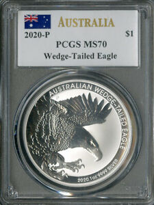 Australia Coin 2020-P Silver Wedge-Tailed Eagle Dollar PCGS MS70 NO RESERVE!