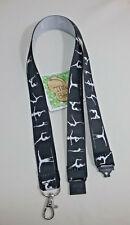 Gymnast gymnastics on black ribbon lanyard safety clip ID badge holder gift idea