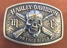 VINTAGE HARLEY DAVIDSON MC NO FREE RIDES BELT BUCKLE SKULL CROSSBONES