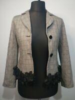 Unbranded Women Black White Check Blazer Jacket Ruffle Trim Casual  UK12