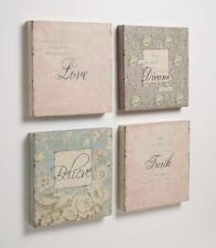 Wall Art Love Dream Faith Believe Shabby Chic Words on Fabric Canvas Style Panel