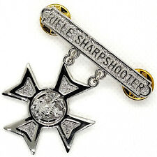 USMC US Marine Corps Qualification Badge Rifle Sharpshooter Marksmanship Silver