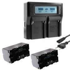 Dual Ladegerät + 2 Akku 4400mAh für 7 Zoll Monitor Kamera Camcorder HDMI VGA AV