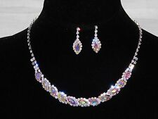 AB Iridescent Marquise,Clear Round Rhinestones Crystal Necklace and Earrings Set