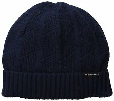 NWT Men's Ben Sherman Textured Beanie with Rib Cuff Stables Navy Blue Warm Hat