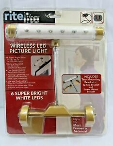 Led Wireless Picture Light Gold Frame Battery Operated Mirror Lamp Art Gallery