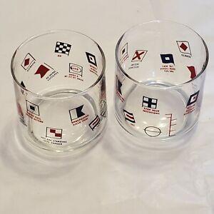 Lot 2 ENCO OIl Nautical Flag Glasses tumbler Glasses Exxon Advertising Bar glass