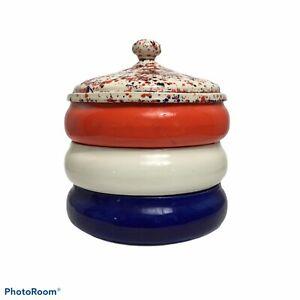 VTG Handmade Ceramic Red White Blue Home Decor Candy Dish