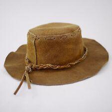 SUEDE LEATHER COWBOY HAT Brown Flexible Cowboy INDIANA JONES - Men's Medium