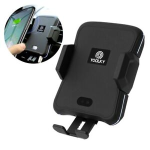 Car Phone Holder Wireless Charger Hands-Free AI Voice Commands Auto Clamp Qi 10W