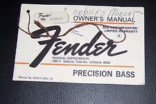 1977 Fender Precision Bass user manual hang tag Revision A