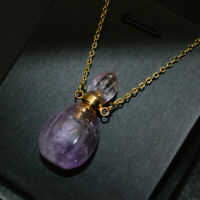 Fashion Women Perfume Bottle Pendant Necklace Natural Amethyst Gemstone Jewelry