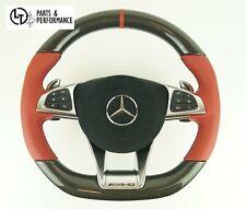 Le illustrée ® Carbone Cuir rouge volant pour Mercedes-Benz AMG GTS c190 w205 w222