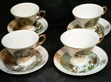 """Antique Currier & Ives Matching Tea Cups & Plates 5.5"""" The Homestead In Winter"""