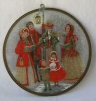 Vintage Christmas Art American Round Lacquer Mother of Pearl Singing Carolers