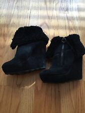 NWOB WOMENS ASH FOLK SUEDE WEDGE BLACK SHEARLING BOOTS BOODIE SHOES SZ 36
