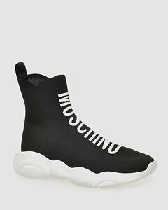 $465 Moschino Men's Black Logo High-Top Knit Sock Sneakers Shoes Size EU42/US 9