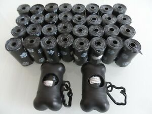 680 BLACK  ENVIRONMENTALLY FRIENDLY POOP DOGS WITH 2  BLACK BAG LEAD DISPENSERS