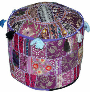 Pouf Ottoman Indian Handmade Embroidered Pouffe Foot Stool Round Cover Floor