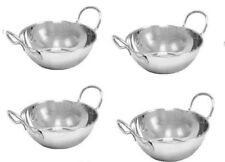 4 x Large 18cm Stainless Steel Balti Curry Serving Dish With Handles Oven Safe