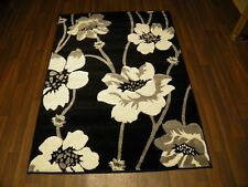 TOP QUALITY NEW 120X170CM APROX 6X4FT RUGS/MAT HAND CARVED POPPY BLACK/SILVER