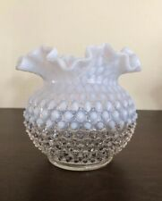 Fenton French White Opalescent Hobnail Vase, Ruffled Edge
