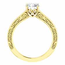 14k Yellow Gold Semi Mount Engagement Bridal Ring Round Diamond Vintage Antique