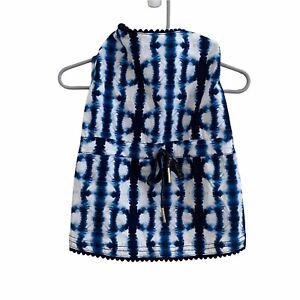 Top Paw Dog Dress Size Medium Tie Dye Cotton Blue White NWT