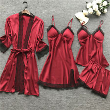 4-Piece Lingerie Women Silk Robe Babydoll Sleepwear Nightdress Pajamas Set Sleep