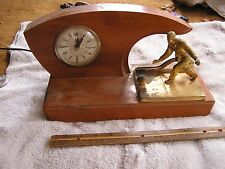 Vintage Lanshire Clock Mid Century Modern Wood Bowling Trophy