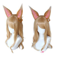 Women Anime LOL KDA Ahri Cosplay Wig Long Straight Blonde Gold Hair Ears Wigs