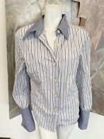 Tasha Polizzi Blue White Striped Womens Button Down Blouse Top French Cuffs XL