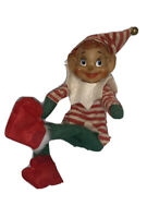 Vintage Elf Pixie Christmas Ornament Wire in Legs Plastic Face Felt RARE Striped