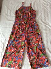 Atmosphere Orange Red Floral Culottes Cropped Jumpsuit Size 10