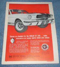 "1966 Motor Wheel Magnum 500 Vintage Ad with Shelby GT350 ""Chosen as Standard.."""