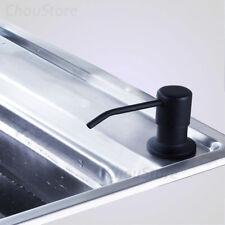 Black Matte Kitchen Sink Soap Dispenser Round Swivel Head ABS Bottle Top Refill