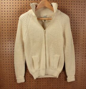 vtg made in england LL BEAN womens british wool zip sweater SMALL chunky knit