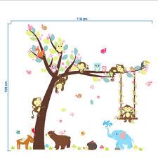 Cartoon Monkey Animals Tree Jungle Wall Art Decal Sticker Mural Kid Decor House