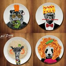 Wild Dining Ceramic Party Dinner Plate Animal Lion Gorilla Panda Giraffe