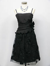 Cherlone Black Prom Ball Evening Bridesmaid Formal Knee Length Dress Size 16-18