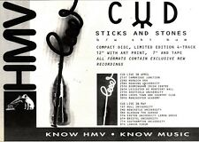 "NEWSPAPER CLIPPING/ADVERT 26/3/94PGN49 7X11"" CUD : STICKS & STONES SINGLE/TOUR"