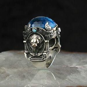 Sterling 925 Silver Handmade Jewelry Brazil Aquamarine Mediaval Men's Ring