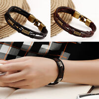 Men's Braided Genuine PU Leather Stainless Steel Cuff Bangle Bracelet Wristband